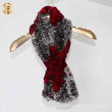 Bufanda de la piel del conejo de la marca de fábrica del bolsillo de las mujeres elegantes del invierno al por mayor