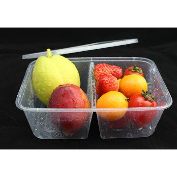 Le récipient jetable en plastique de nourriture de micro-onde de 2 compartiments pour la nourriture emportent