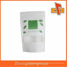 Sacola de sacola de china sacola de impressão saco de papel de arroz com zíper / janela