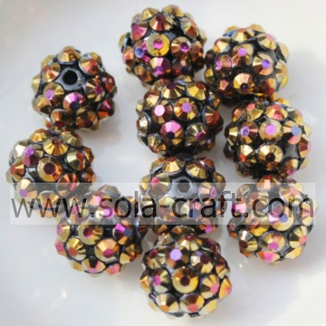 Gold AB Color Acrylic Resin Rhinestones Ball Beads 10*12MM
