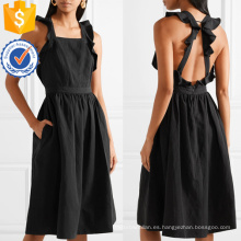Vestido sin mangas con volantes negro, espalda abierta, verano, midi para chica sexy, fabricación al por mayor, ropa de mujer de moda (TA0273D)
