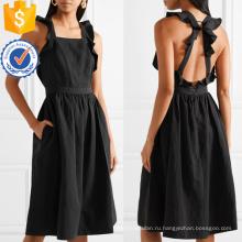 Черный Раффлед без рукавов с открытой спиной Летнее Миди платье для девочки сексуальное Производство Оптовая продажа женской одежды (TA0273D)