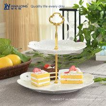 Diseño de la flor de la forma redonda Diseño de encargo de la cerámica fina Porcelana placa de la torta de dos capas, placa de la fruta de la porcelana