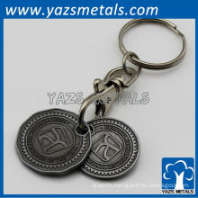 Hot promotion metal double sided keychains in black color plating and attached lobster claps on the top