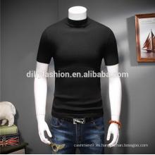 Nuevo patrón de estiramiento jersey cuello redondo musculos encajan al por mayor de los hombres de cachemira T-shirts