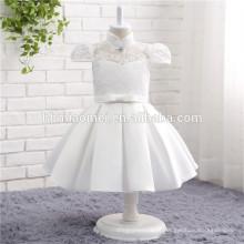 2017 Novo modelo de uma peça vestido de festa cor branca alta pescoço Moda menina fantasia flor vestido