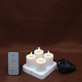 Set of 4 moving flame Rechargeable Flameless Tealight