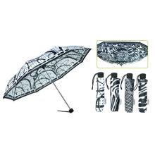 Paraguas a prueba de viento negro y blanco 3 veces (YS-3FM21083911R)