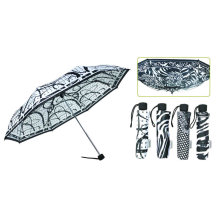 Guarda-chuva à prova de vento de 3 dobras preto & branco (YS-3FM21083911R)