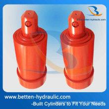 Cilindros de cilindros telescópicos hidráulicos de doble efecto para grúa móvil / camión volquete / remolque