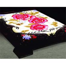 100% poliéster flor impressão e esculpido cobertor de poliéster barato