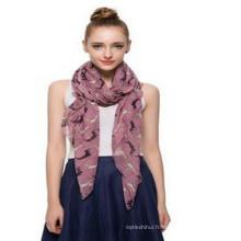 Toujours chaud vente whosale mode base dépistage imprimé couleur gris animal chien Polyester Voile 100% polyester soie foulard