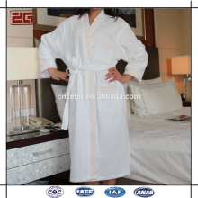 Trade Assurance Custom Waffle Fabric Luxury Hotel Cotton Bathrobe with Embroidery
