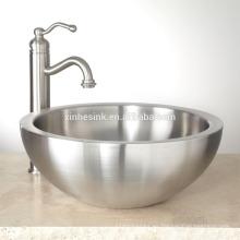 Fregadero de baño de acero inoxidable con doble pared