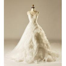 V-Ausschnitt abgestuftes Hochzeitskleid mit Spitze Appliques