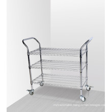 3 Tiers Chrome Commercial Metal Utility Trolley (CJ-A1195)