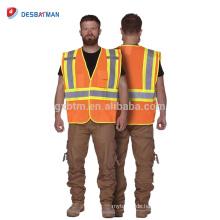 Heißer Verkauf Hallo Vis 100% Polyester Mesh Workwear Jacke Hohe Sichtbarkeit Heavy Duty Sicherheitsweste mit Reflexstreifen Multi Taschen