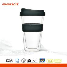 2015 Nuevos Productos Venta al por mayor barata de copa de té de vidrio de beber con tapa