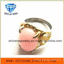 Bijoux fantaisie avec anneau en dents en pierre rose (SCR2885)