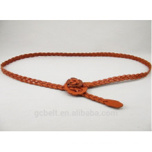 1.5cm leather braided belt for woman's cloth