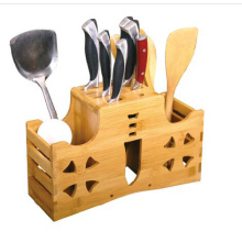 Bamboo Utensil Holder Kitchen Flatware Organizer