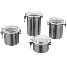 boîtes métalliques de stockage des aliments de cuisine en gros en acier inoxydable avec couvercle
