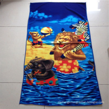 Quick drying custom printed microfiber suede kids beach towel with bag