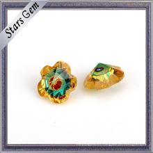 Forma de flor CZ de oro y piedra preciosa de color mezclado de cristal azul