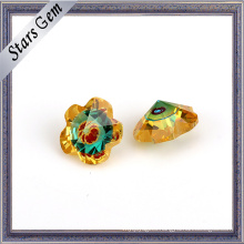Flower Shape Gold CZ and Blue Glass Mixed Color Gemstone