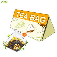 Sac à thé de pyramide en nylon biodégradable de vente chaude