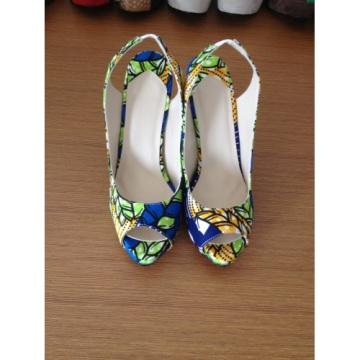 2016 New African Printed Fabrics Fashion High Heel Shoes (HCY10-099)