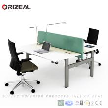 Офис 2 лица подтяжка компьютер двойной рабочей станции регулируется по высоте письменный стол/стол
