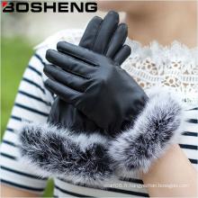 Women Warm Fashion Gants en cuir noir avec plumes