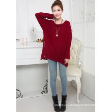Chandail de pull à glissière tricoté acrylique Lady Fashion (YKY2002)