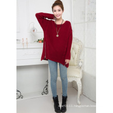 Lady Fashion Acrylic Knitted Zipper Pullover Sweater (YKY2002)