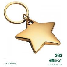 Kundenspezifischer Logo-Legierungs-Stern Keychain / Metallstern-Schlüsselkette / Goldschlüsselringe