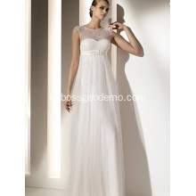 Empire Sheath Column Bateau Leher Lantai Panjang Chiffon Lace Draped Wedding Dress1