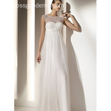 Empire Sheath Column Bateau Neck Floor-panjang Chiffon Lace Draped Wedding Dress