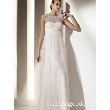 Empire Sheath Column Bateau Neck Floor-panjang Chiffon Lace terbungkus Wedding Dress1