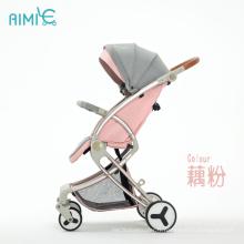 AIMILE dernier système de voyage de poussette pliable pour enfants de luxe rose clair de qualité de conception unique pour les bébés de 0 à 36 mois