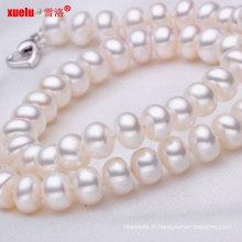 8-9mm gros bouton rond naturel collier de perles d'eau douce (E130007)