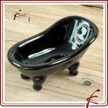 Black Glaze Decal Ceramic Bathtub Soap Dish