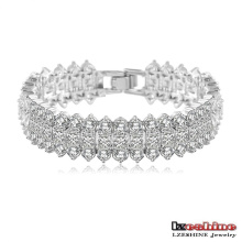 18k White Gold Plated Wedding Bridal Strand Bracelets (CBR0015-B)