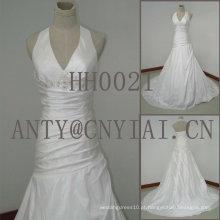 HH0021 mermaid real da sereia halter vestido de noiva do pescoço