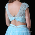 2017 dernières robes de demoiselle d'honneur magnifiques de conception 2pcs ensemble laçage bleu clair demoiselle d'honneur robes longues