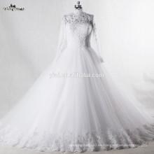 RSW939 musulmanes vestidos de novia de boda vestido de novia de cuello alto