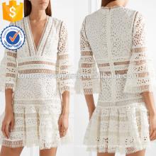 New White Cotton V-Neck Three Quarter Length Sleeve Mini Summer Dress Manufacture Wholesale Fashion Women Apparel (TA0260D)