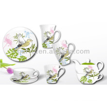 Porcelain Breakfast Set With Bird And Flower Decor