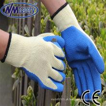 NMSAFETY 10 gauge forro de poliéster revestido de látex à prova d 'água azul em luvas de plam