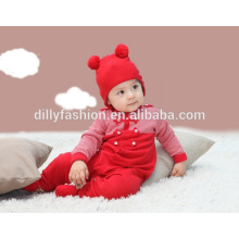 Fashion cute baby hat two pom pom baby beanie winter sofe cap